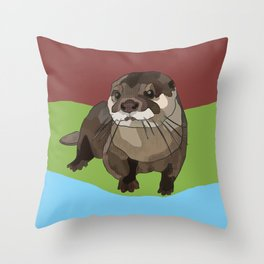 Significant Otter by BeeFoxTree Throw Pillow