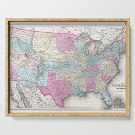 1857 Colton Map of the United States of America Serving Tray