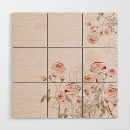 FRENCH PALE ROSES Wood Wall Art