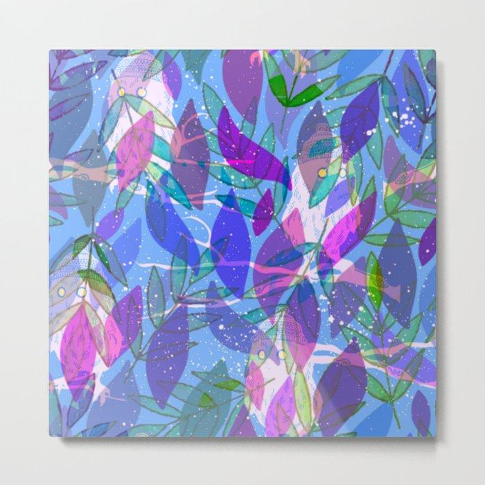 modern leaves pattern Metal Print