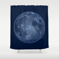 dark side of the moon Shower Curtains featuring Dark Side of the Moon - Painting by Nicole Cleary