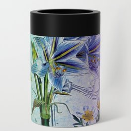Botanical Study #2, Vintage Botanical Illustration Collage Art Can Cooler