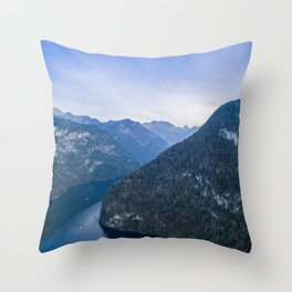 königssee alps bayern forrest drone aerial shot nature wanderlust boat mountains Throw Pillow