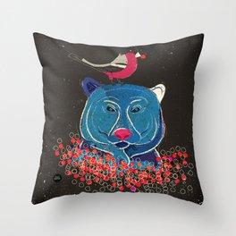 Bullfinch and bear Throw Pillow