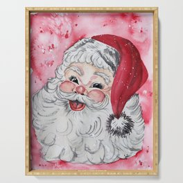 Vintage Santa Face Christmas Watercolor Serving Tray