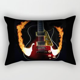 Burning Rock Guitar Rectangular Pillow