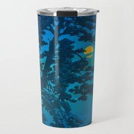 Vintage Japanese Woodblock Print Kawase Hasui Haunting Tree Silhouette At Night Moonlight Travel Mug