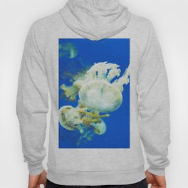 Blue Jellyfish Under the Sea Underwater Photography Saturated Pop Art Color Wall Art Hoody