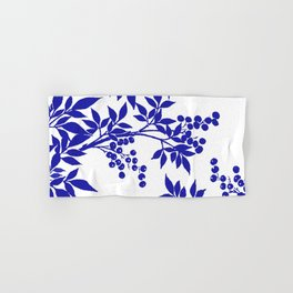 BLUE AND WHITE  TOILE LEAF Hand & Bath Towel