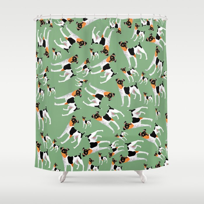 Year of the dog: Japanese Terrier (Lavender and Green) Shower Curtain