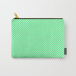Lanai Lime Green - Acid Green and White Candy Cane Stripe Carry-All Pouch