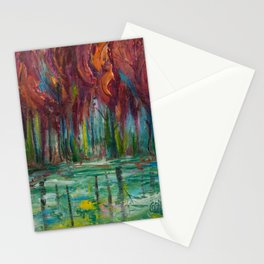 Red Trees Thick Impasto Abstract  Painting Stationery Cards