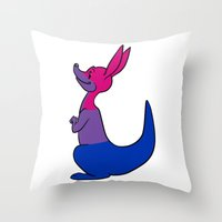 bisexual Throw Pillows featuring Bisexual Kangaroo by alashby