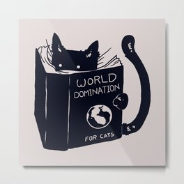World Domination For Cats Metal Print