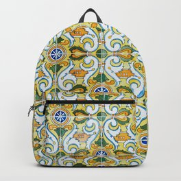 Seamless Floral Pattern Ornamental Tile Design : 9 yellow, green Backpack