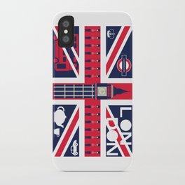 Vintage Union Jack UK Flag with London Decoration iPhone Case