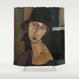 Modigliani - Jeanne Hebuterne With Hat And Necklace Shower Curtain