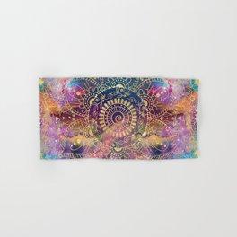 Gold watercolor and nebula mandala Hand & Bath Towel