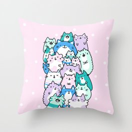 Pastel Pile of Cats Throw Pillow
