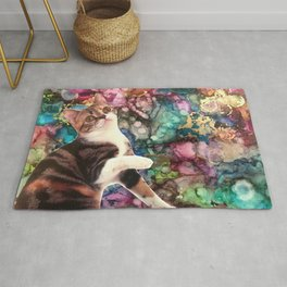 Cute Cat on a Marbled Background Rug