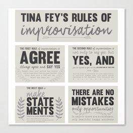 Tina Fey's Rules of Improvisation Canvas Print