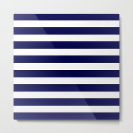 Navy Blue & White Stripes- Mix & Match with Simplicity of Life Metal Print