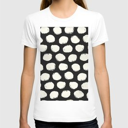 Trendy Cream Polka Dots on Black T-shirt