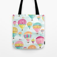 hot air balloons Tote Bags featuring Hot Air Balloons by Jill Byers