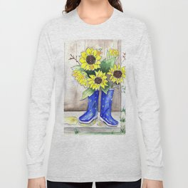 Sunflowers in Rain Boots Long Sleeve T-shirt