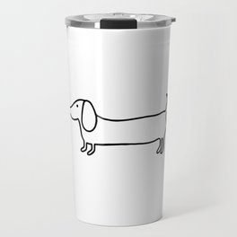 Simple dachshund black drawing Travel Mug