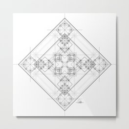 Black and white detailed sacred geometry symbol graphite Metal Print