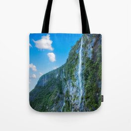 One of the numerous waterfalls falling down the sheer cliffs at Milford Sound. Tote Bag