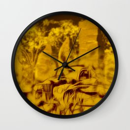 Apocalyptic standing stones and abandoned car Wall Clock