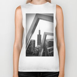 Sears Tower Sculpture Chicago Illinois Black and White Photo Biker Tank