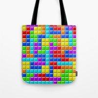 tetris Tote Bags featuring Tetris by Rebekhaart
