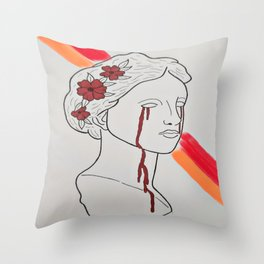 Red tears statue Throw Pillow
