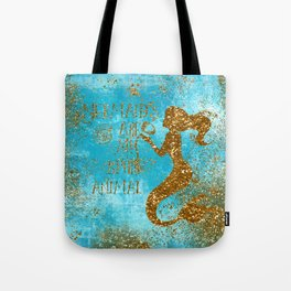 Glitter Typography-Mermaids Are My Favorite Animal Tote Bag