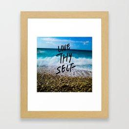 Love Thy Self Quote Summer Beach Framed Art Print