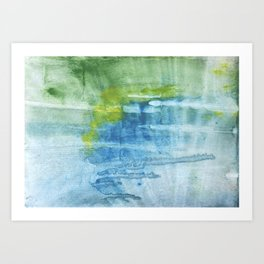 Blue green colored wash drawing Art Print