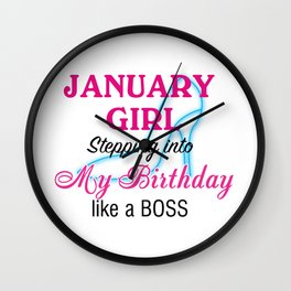January Girl Birthday Wall Clock