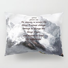 Serenity Prayer With Panoramic View Of Everest Mountain Pillow Sham