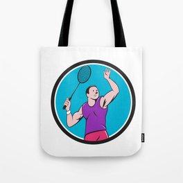Badminton Player Racquet Striking Circle Cartoon Tote Bag