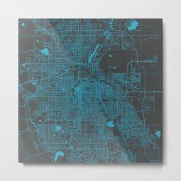 Denver blue map Metal Print