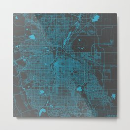 Denver blue map Metal Print