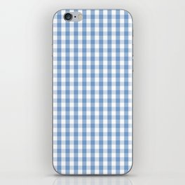 Classic Pale Blue Pastel Gingham Check iPhone Skin