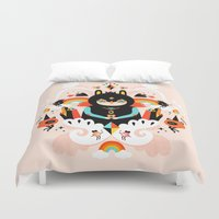 queen Duvet Covers featuring Rainbow Queen by Muxxi
