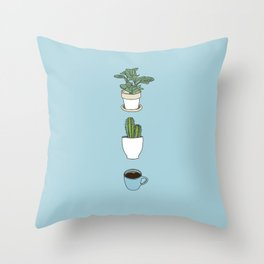 Plants N Coffee Throw Pillow