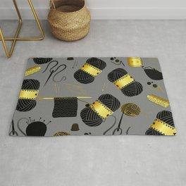 Gold and Black yarn Rug