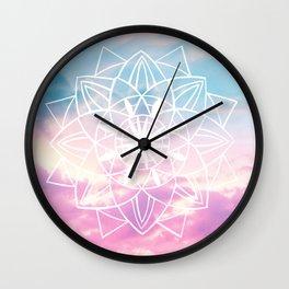 Star Mandala Unicorn Pastel Clouds #3 #decor #art #society6 Wall Clock