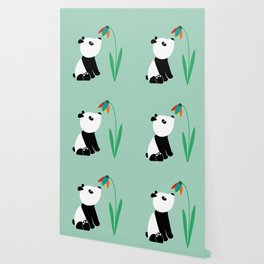Sweet panda and flower Wallpaper